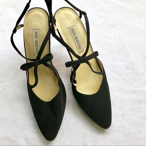 Ann Marino | Black Fabric Point Toe Bow Slingbacks